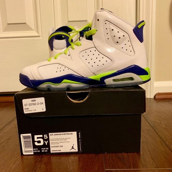 Jordan Shoes   Retro 6 Size 55y Seahawk